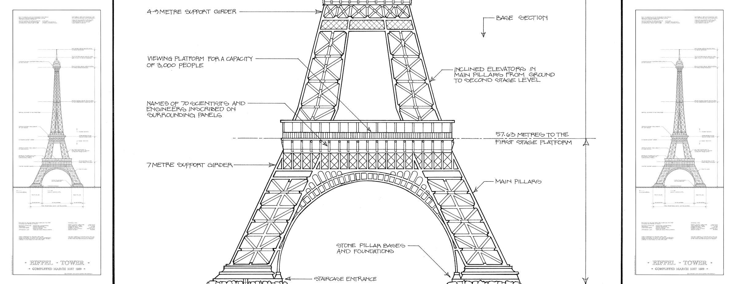 Eiffel Tower Technical Drawings Eiffel Tower Drawing