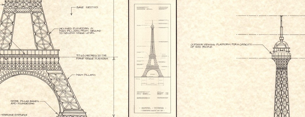 EIFFEL TOWER Engineering Drawing Print