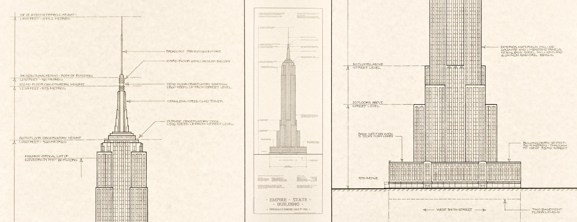 Empire State Building Architectural Drawing