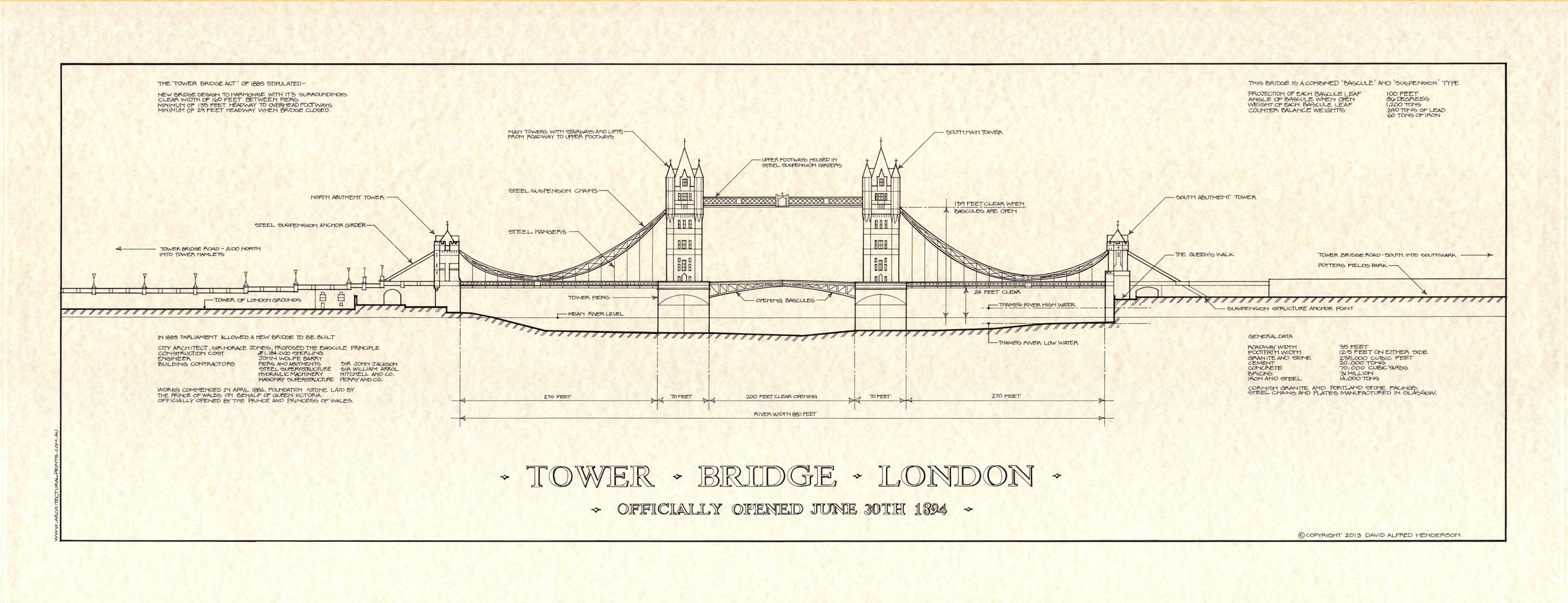 London tower bridge print architectural prints for Print architectural drawings